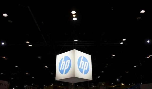 The Hewlett-Packard (HP) logo is seen as part of a display at the Microsoft Ignite technology conference in Chicago, Illinois, May 4, 2015. REUTERS/Jim Young/Files