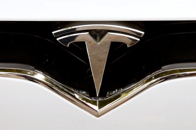 The company's logo is seen at a Model X car of U.S. manufacturer Tesla in Zurich, Switzerland August 17, 2016    REUTERS/Arnd Wiegmann/Files