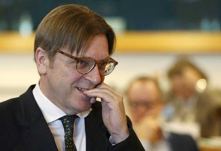 Member of the European Parliament (MEP) delegated to negotiate on the UK deal, Guy Verhofstadt arrives at the Conference of Presidents of European Parliament's party blocs in Brussels, Belgium, February 16, 2016. REUTERS/Francois Lenoir