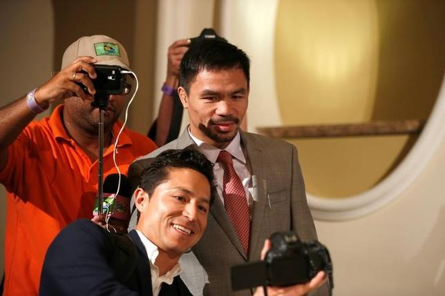USA Boxing - Manny Pacquiao & Jessie Vargas - Head-to-Head Press Conference - Beverly Hills Hotel, Beverly Hills - 8/9/16Manny Pacquiao during the press conference. REUTERS/Lucy Nicholson