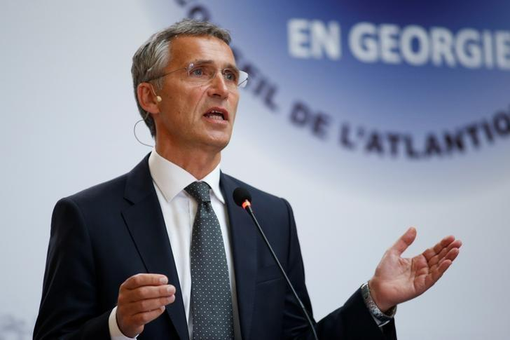 NATO Secretary-General Jens Stoltenberg delivers a speech during a meeting with students in Tbilisi, Georgia, September 8, 2016. REUTERS/David Mdzinarishvili