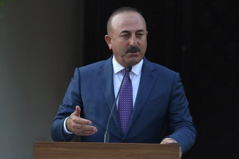 Turkey's Foreign Minister Mevlut Cavusoglu speaks to the media during a visit to northern Cyprus, August 31, 2016. REUTERS/Yiannis Kourtoglou