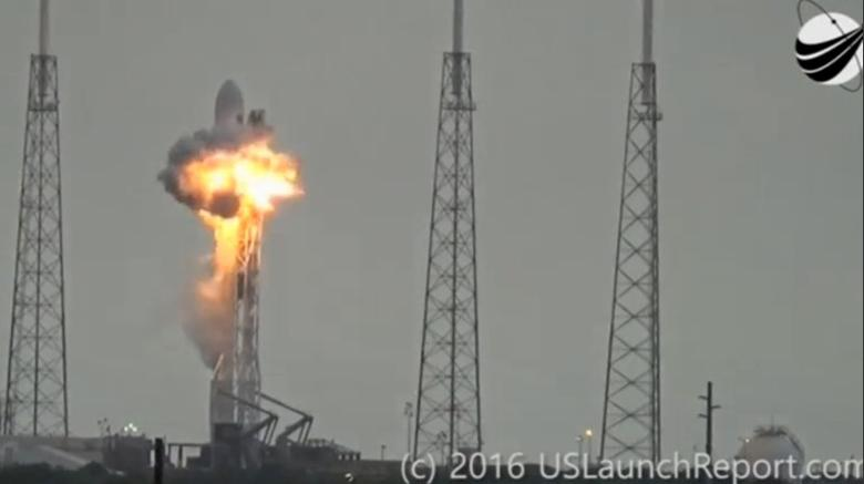 An explosion on the launch site of a SpaceX Falcon 9 rocket is shown in this still image from video in Cape Canaveral, Florida, U.S. September 1, 2016. U.S. Launch Report/Handout via REUTERS/File Photo