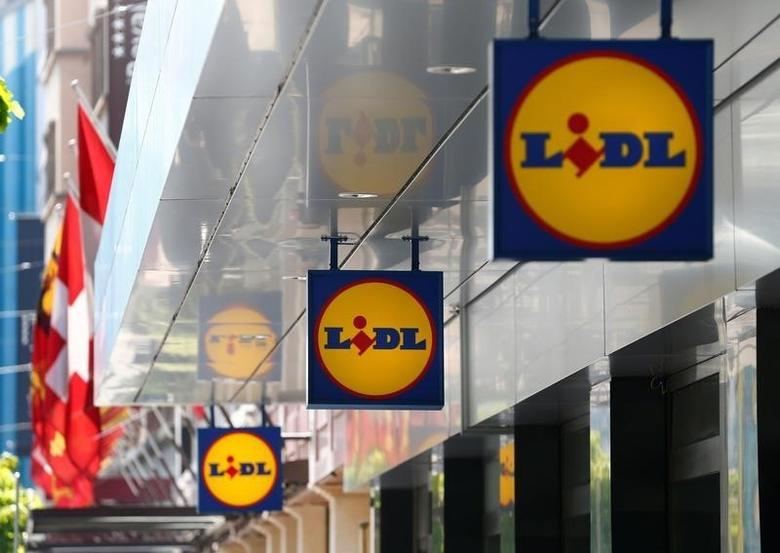 Logos are pictured outside a Lidl retail shop in Geneva, Switzerland May 2, 2016. REUTERS/Denis Balibouse