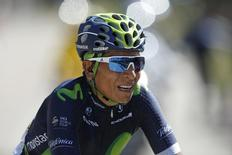 Cycling - The Tour de France cycling race - The 178-km (110.6 miles) Stage 12 from Montpellier to Chalet-Reynard - 14/07/2016 - Movistar Team rider Nairo Quintana of Colombia reacts after the finish line.  REUTERS/Juan Medina