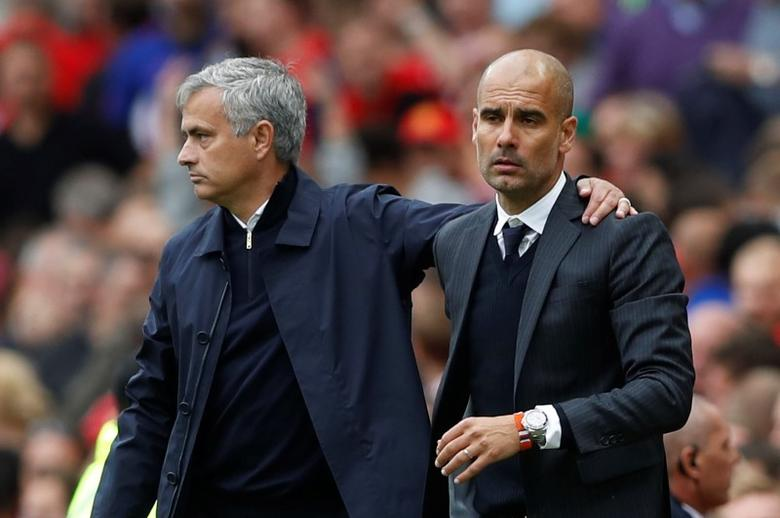 Britain Soccer Football - Manchester United v Manchester City - Premier League - Old Trafford - 10/9/16Manchester United manager Jose Mourinho and Manchester City manager Pep Guardiola at the end of the matchAction Images via Reuters / Carl Recine