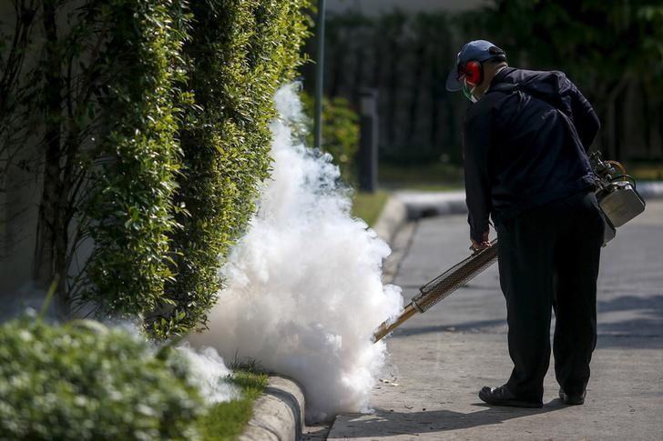 A worker sprays insecticide for mosquitos at a village in Bangkok, Thailand, January 13, 2016. REUTERS/Athit Perawongmetha/Files