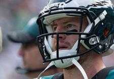 Sep 11, 2016; Philadelphia, PA, USA; Philadelphia Eagles quarterback Carson Wentz (11) during a break in action against the Cleveland Browns in the second quarter at Lincoln Financial Field.The Philadelphia Eagles won 29-10. Mandatory Credit: Bill Streicher-USA TODAY Sports