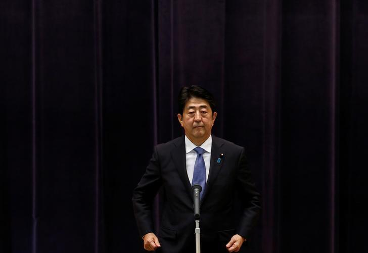 Japan's Prime Minister Shinzo Abe addresses Japan Self-Defense Force's senior members during a meeting at the Defense Ministry in Tokyo, Japan, September 12, 2016. REUTERS/Toru Hanai