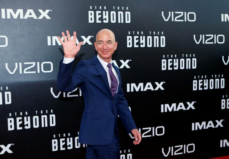 CEO of Amazon.com Jeff Bezos arrives for the world premiere of ''Star Trek Beyond'' at Comic Con in San Diego, California U.S., July 20, 2016.  REUTERS/Mike Blake