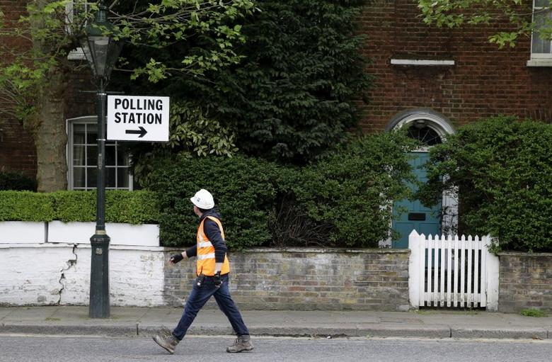 A builder walks past a polling station sign in London, as Britain goes to the polls for a general election May 7, 2015.    REUTERS/Kevin Coombs