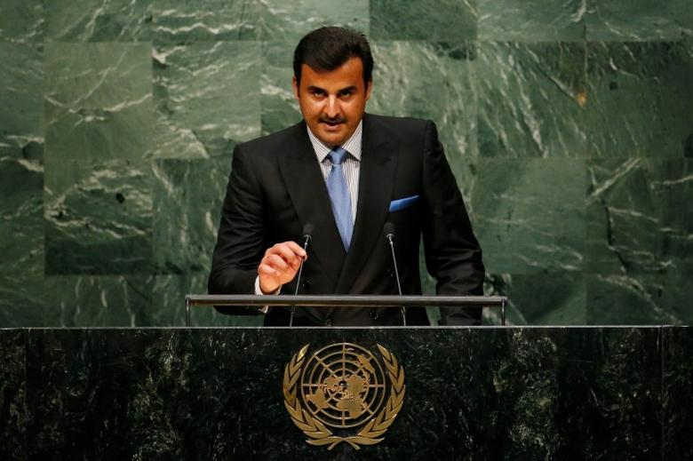 Emir Sheikh Tamim Bin Hamad Al-Thani of Qatar addresses attendees during the 70th session of the United Nations General Assembly at the U.N. Headquarters in New York, September 28, 2015.  REUTERS/Mike Segar