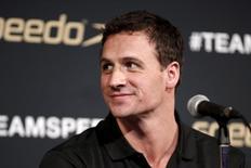 Nadador dos EUA, Ryan Lochte, em entrevista coletiva em NY. 12/12/2015 REUTERS/Mike Segar
