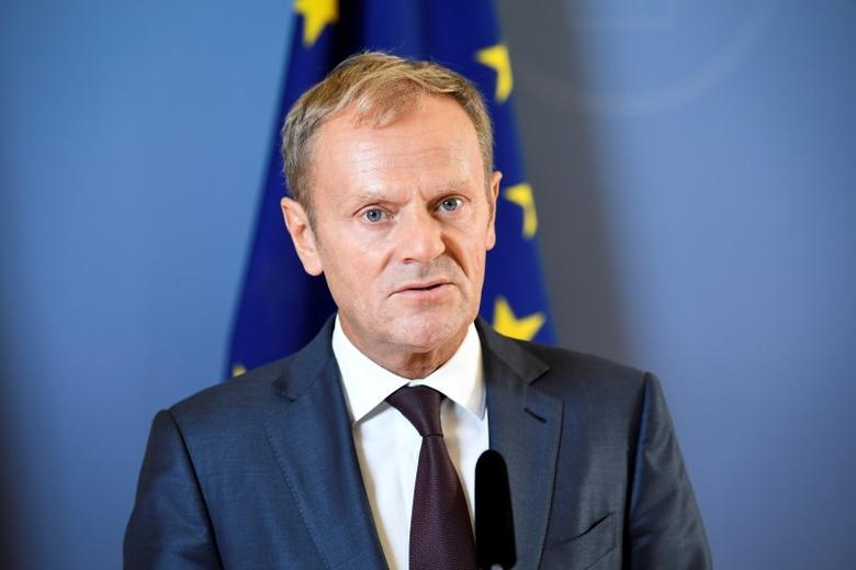 President of the European Council Donald Tusk looks on during a joint news conference with Sweden's Prime Minister Stefan Lofven (unseen) at the government headquarters Rosenbad in Stockholm, Sweden, September 9, 2016.  Marcus Ericsson/TT News Agency via REUTERS