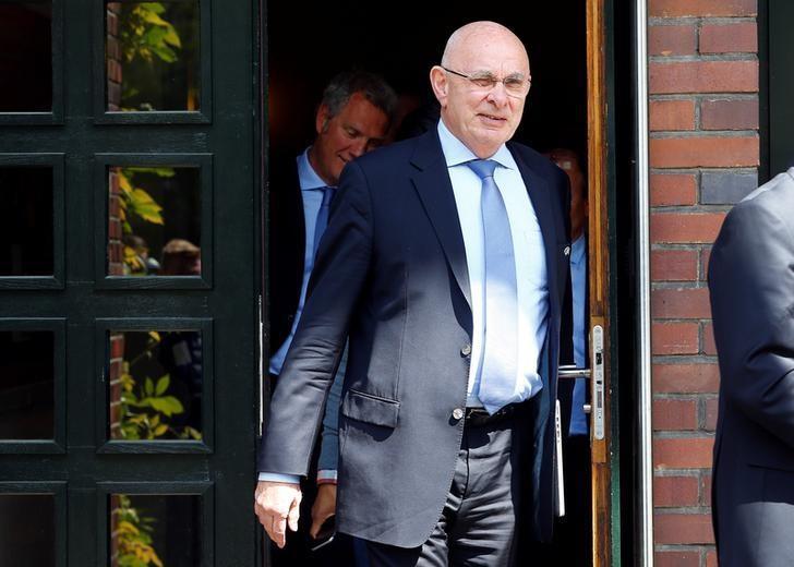 UEFA executive committee member Michael van Praag leaves the UEFA executive committee meeting in Basel, Switzerland May 18, 2016. REUTERS/Ruben Sprich