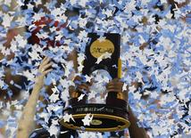 View of the NCAA basketball trophy as confetti falls after the game between the Villanova Wildcats and the North Carolina Tar Heels in the championship game of the 2016 NCAA Men's Final Four at NRG Stadium, in Houston, Texas, April 4, 2016. Mandatory Credit: Troy Taormina-USA TODAY Sports