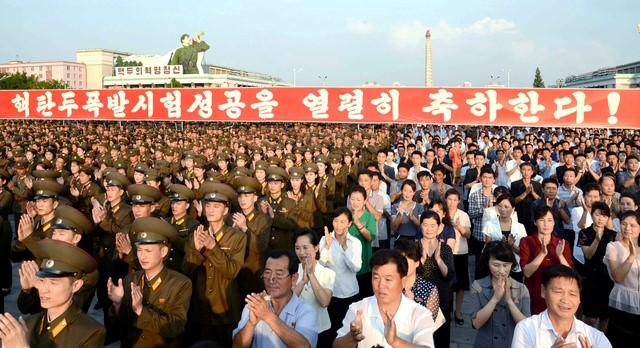 A rally celebrating the success of a recent nuclear test is held in Kim Il Sung square. KCNA/via Reuters
