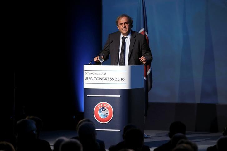Former UEFA President Michel Platini speaks before the election of the new UEFA President in Athens, Greece September 14, 2016. REUTERS/Alkis Konstantinidis