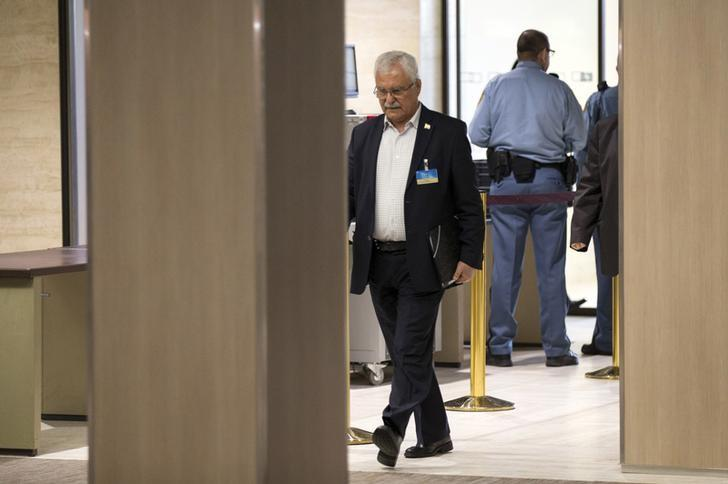 The High Negotiations Committee (HNC) delegation member George Sabra arrives for a meeting on Syria with UN special envoy Staffan de Mistura at the Palais des Nations in Geneva, Switzerland, April 18, 2016. REUTERS/Xu Jinquan/Pool/File Photo