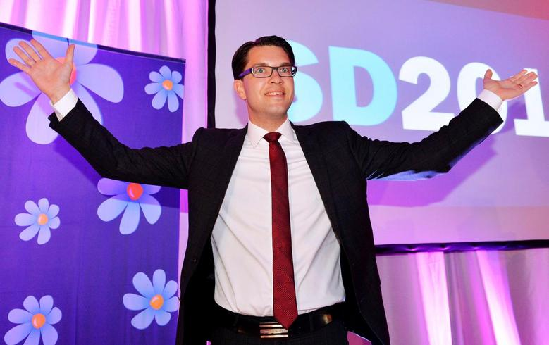 Party leader Jimmie Akesson celebrates at the election night party of the Sweden Democrats in Stockholm, Sweden, September 14, 2014. REUTERS/Anders Wiklund/TT News Agency/File Photo