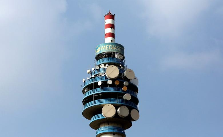 The Mediaset tower is seen in Cologno Monzese neighbourhood Milan, Italy, in this April 7, 2016 file photo.  REUTERS/Stefano Rellandini/File Photo - RTX2DL72