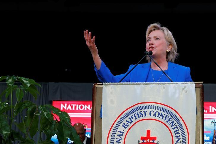U.S. Democratic presidential candidate Hillary Clinton speaks to the Annual Session of the National Baptist Convention in Kansas City, Missouri, United States September 8, 2016.  REUTERS/Brian Snyder