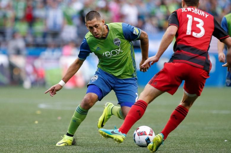 Aug 21, 2016; Seattle, WA, USA; Seattle Sounders FC forward Clint Dempsey (2) dribbles against the Portland Timbers during the first half at CenturyLink Field. Seattle defeated Portland, 3-1. Mandatory Credit: Joe Nicholson-USA TODAY Sports