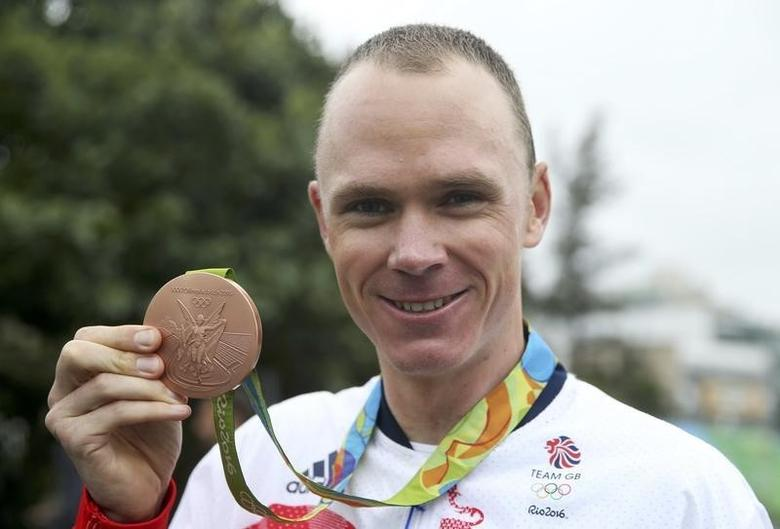 2016 Rio Olympics - Cycling Road - Victory Ceremony - Men's Individual Time Trial Victory Ceremony - Pontal - Rio de Janeiro, Brazil - 10/08/2016. Chris Froome (GBR) of United Kingdom poses with the bronze medal.   REUTERS/Matthew Childs