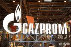 The logo of Gazprom is pictured at the 26th World Gas Conference in Paris, France, June 2, 2015.  REUTERS/Benoit Tessier  - RTR4YIO7