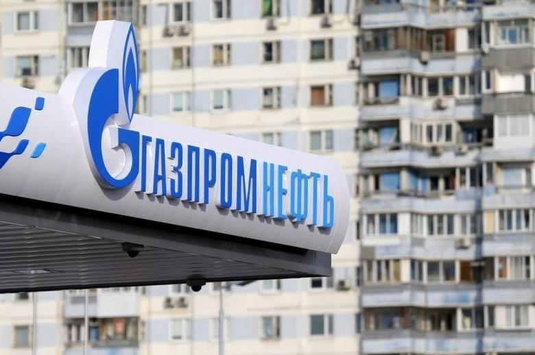 A logo of Gazprom Neft oil company is seen at a petrol station in Moscow, Russia, March 11, 2016. REUTERS/Maxim Shemetov/File Photo