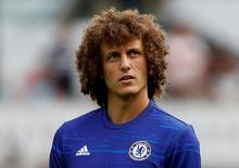 David Luiz durante aquecimento antes de partida do Chelsea.  11/09/2016 Action Images via Reuters / Carl Recine Livepic