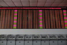 An electronic stock information board displaying zero numbers on the latests stock prices before the opening of the first trading day after the week-long Lunar New Year holiday at a brokerage house in Shanghai, China, February 15, 2016.  REUTERS/Aly Song/File Photo
