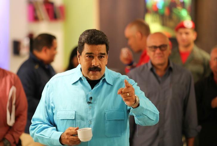 Venezuela's President Nicolas Maduro speaks during his weekly broadcast ''En contacto con Maduro'' (In contact with Maduro) in Caracas, Venezuela September 13, 2016. Miraflores Palace/Handout via REUTERS