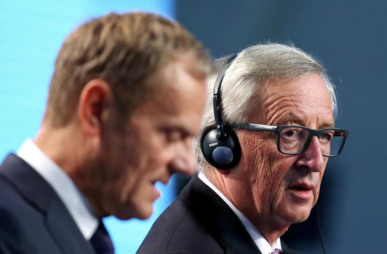 European Council President Donald Tusk (L) and European Commission President Jean Claude Juncker hold a news conference at the end of a European Union summit- the first one since Britain voted to quit- in Bratislava, Slovakia, September 16, 2016. REUTERS/Yves Herman