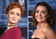 "Cast members Sophie Turner (L) and Maisie Williams are shown in this combination photo at they attend the premiere for the sixth season of HBO's ""Game of Thrones"" in Los Angeles April 10,, 2016.  REUTERS/Phil McCarten/File Photos"