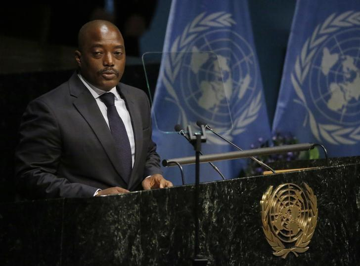 Congo President Joseph Kabila delivers his remarks during the opening ceremony of the Paris Agreement signing ceremony on climate change at the United Nations Headquarters in Manhattan, New York, U.S., April 22, 2016.   REUTERS/Carlo Allegri/Files
