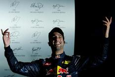 Formula One - F1 - Singapore Grand Prix - Marina Bay, Singapore- 18/9/16 Red Bull's Daniel Ricciardo of Australia celebrates second place. REUTERS/Jeremy Lee
