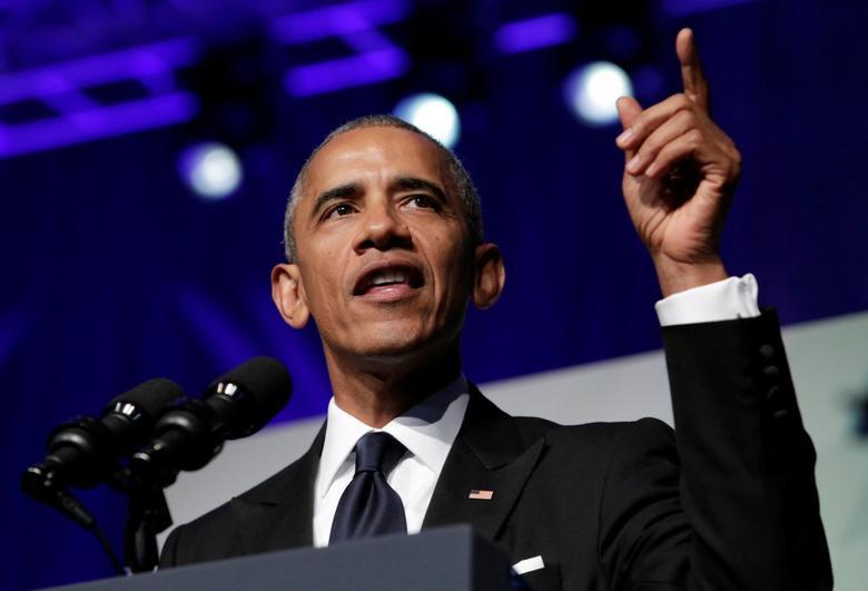 U.S. President Barack Obama addresses the Congressional Black Caucus Foundation's 46th annual Legislative Conference Phoenix Awards Dinner in Washington, September 17, 2016. REUTERS/Yuri Gripas