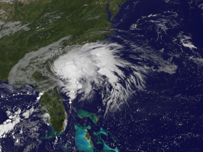 FILE PHOTO - Tropical Storm Julia, centered 10 miles (16 kms) west of Brunswick, Georgia, is seen in an image from NOAA's GOES-East satellite captured at 8:37 a.m. EDT (1237 GMT) September 14, 2016.  NASA/NOAA GOES Project/Handout via Reuters