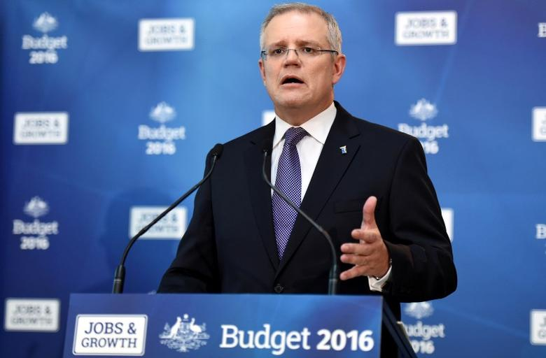 Australian Treasurer Scott Morrison speaks to journalists at a press conference before delivering the 2016 Federal Government's budget at Parliament House in Canberra, Australia, May 3, 2016.    AAP/Mick Tsikas/via REUTERS