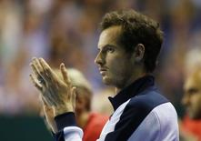 Tennis Britain - Great Britain v Argentina - Davis Cup Semi Final - Emirates Arena, Glasgow, Scotland - 18/9/16. Great Britain's Andy Murray applauds during Dan Evans' match against Argentina's Leonardo Mayer. Action Images via Reuters / Andrew Boyers