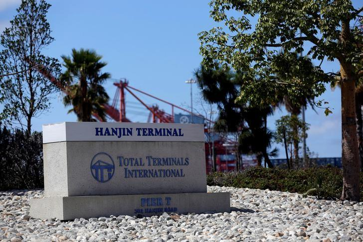 The sign for the Hanjin Terminal at the facilities of Total Terminals International is seen at the Port of Long Beach, California U.S., September 13, 2016.   REUTERS/Mario Anzuoni/File Photo