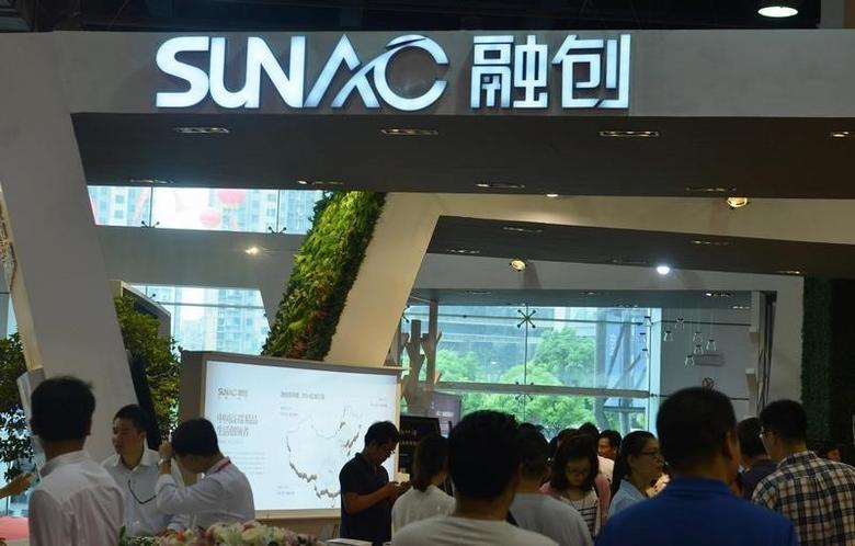 Sunac China Holdings Ltd logo is seen during a exhibition in Hangzhou, Zhejiang province, China, May 25, 2015. China Daily/via REUTERS