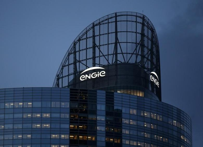 The logo of French gas and power group Engie is seen on the company tower at La Defense business and financial district in Courbevoie near Paris, France, March 2, 2016.   REUTERS/Jacky Naegelen