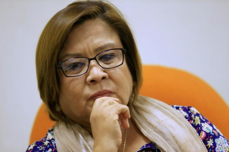 Philippine Senator Leila de Lima pauses during a Reuters interview at the Senate building in Pasay city, metro Manila, Philippines August 29, 2016. REUTERS/Romeo Ranoco/File Photo