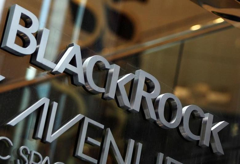 The BlackRock logo is seen outside of its offices in New York January 18, 2012. B REUTERS/Shannon Stapleton/File Photo    GLOBAL BUSINESS WEEK AHEAD PACKAGE - SEARCH ''BUSINESS WEEK AHEAD JULY 11'' FOR ALL IMAGES
