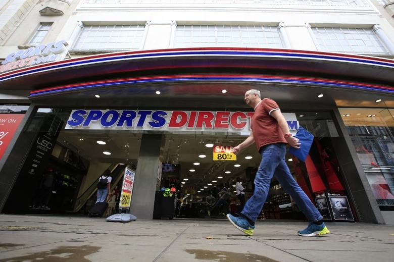 A man walks past a Sports Direct store on Oxford Street in London, Britain July 22, 2016.     REUTERS/Paul Hackett