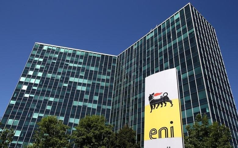 Eni's logo is seen in front of its headquarters in San Donato Milanese, near Milan, Italy, April 27, 2016.  REUTERS/Stefano Rellandini/File Photo