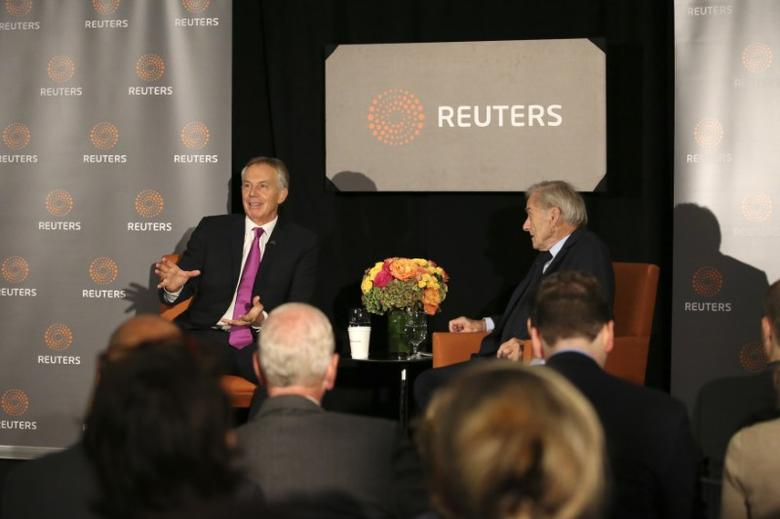 Former British Prime Minister Tony Blair speaks as Reuters Editor-at-Large Sir Harold Evans (R) moderates a Reuters Newsmaker conversation ''Politics on the Edge,'' with Blair in Manhattan, New York, U.S., September 20, 2016.  REUTERS/Bria Webb - RTSOMHJ