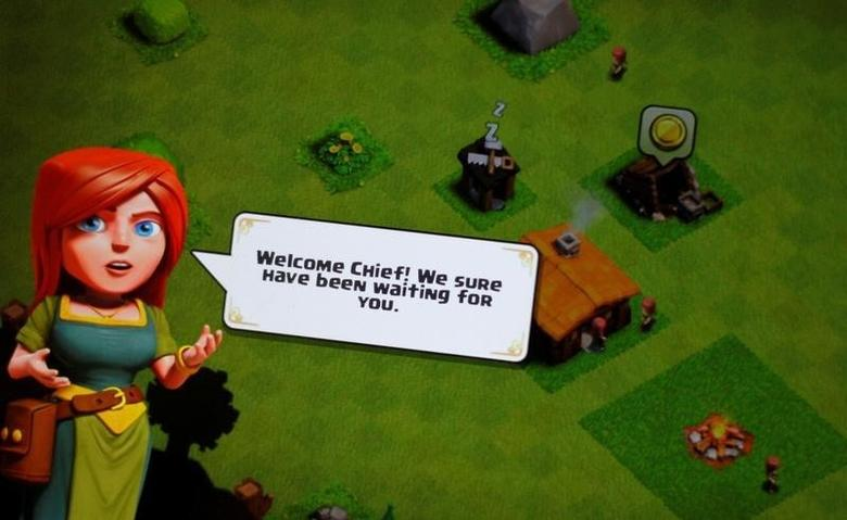 The Supercell game  ''Clash of Clans'' welcome screen is seen on a phone June 16, 2016.   REUTERS/Thomas White